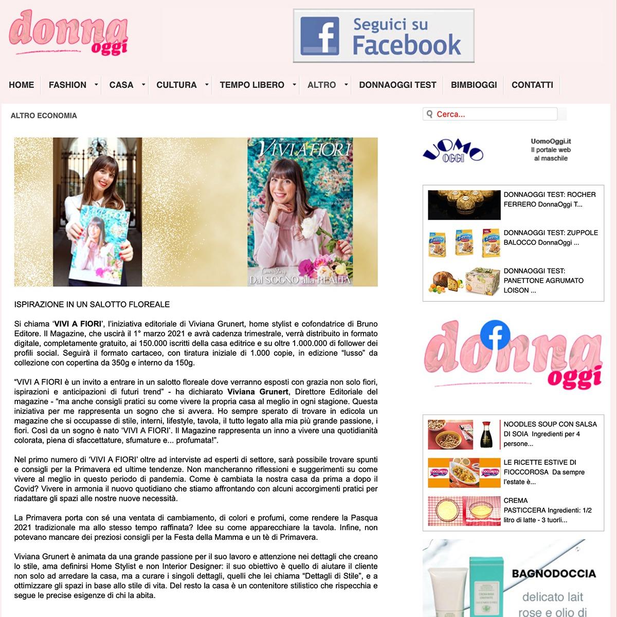 Viviana Grunert su DONNA OGGI-20-02-2021