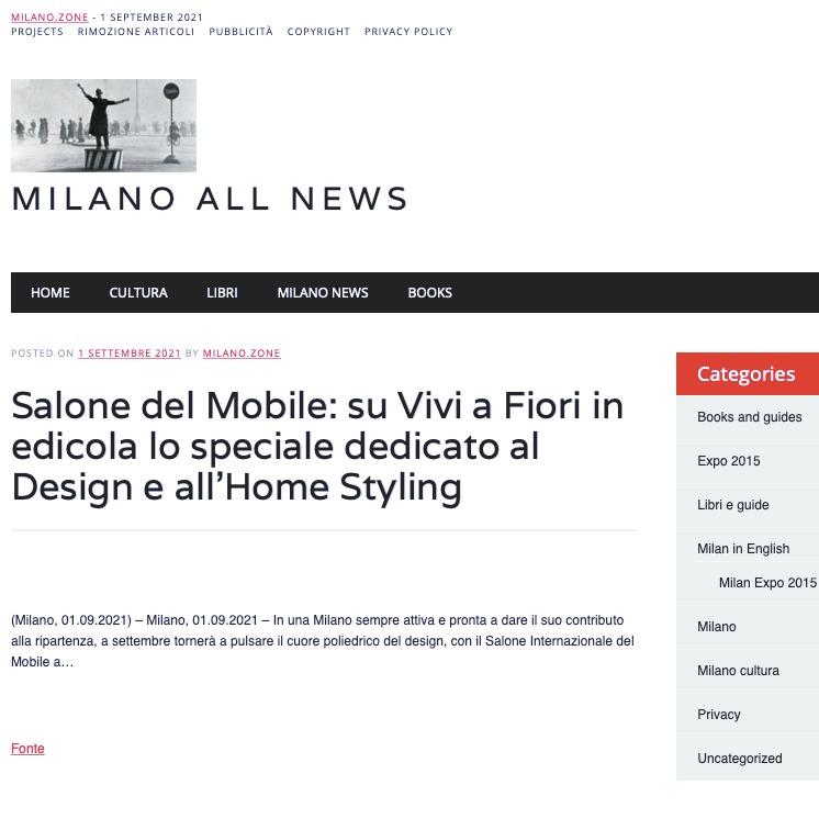 Viviana Grunert su MILANO ALL NEWS-01.09.2021