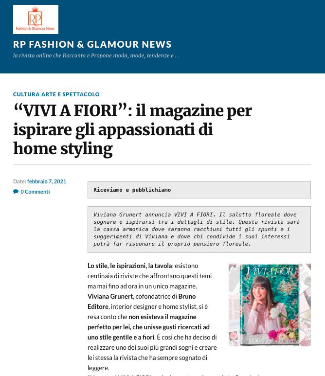 Viviana Grunert su RP FASHION GLAMOUR NEWS-07.02.2021