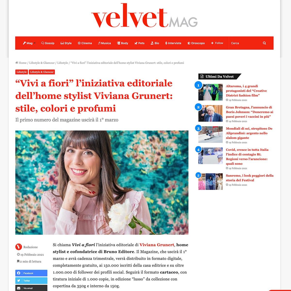 Viviana Grunert su VELVET MAG-19.02.2021