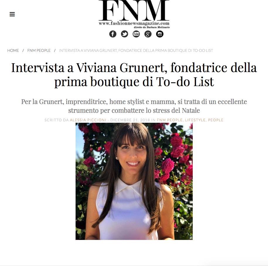 Viviana Grunert su FASHIONNEWSMAGAZINE-21.12.2018