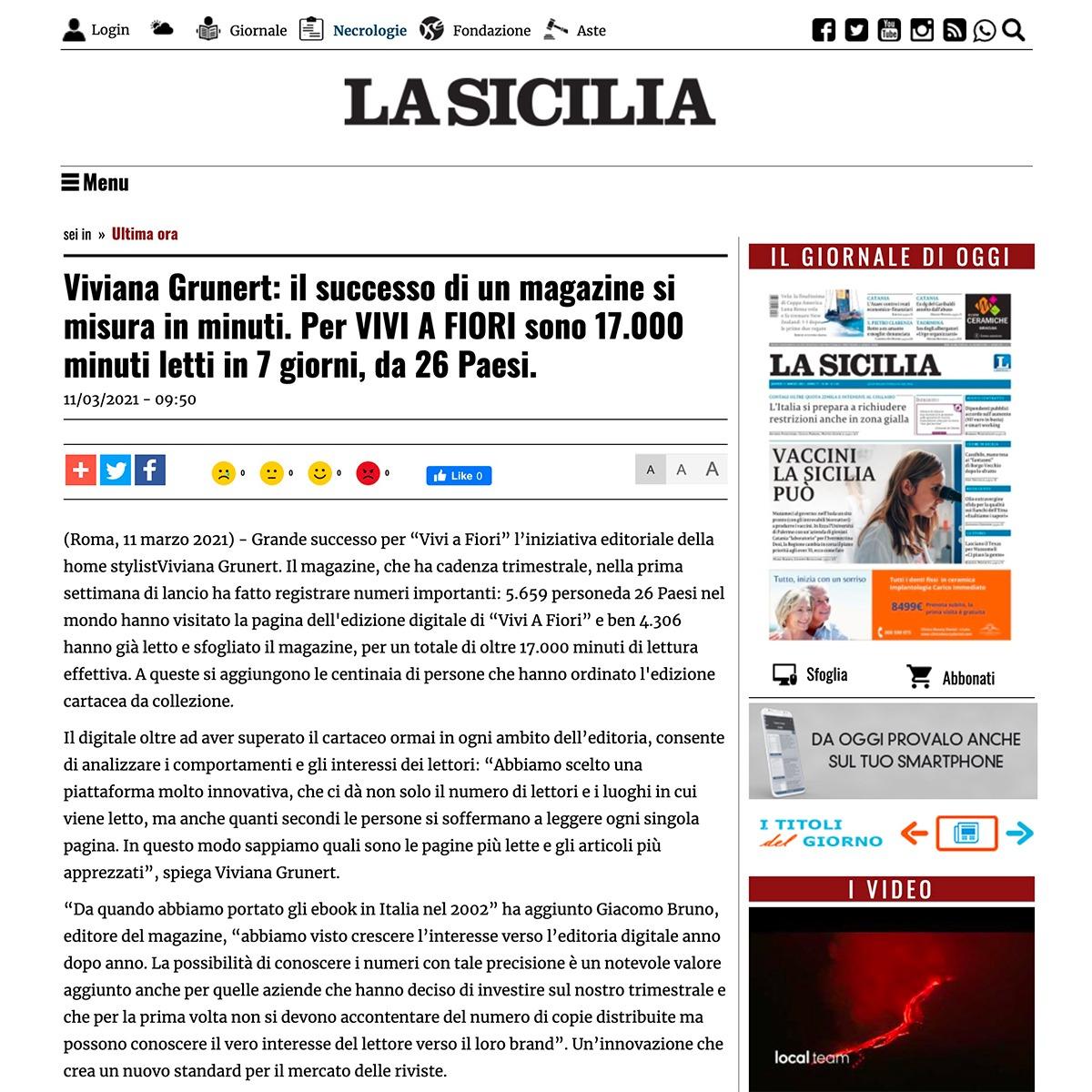 Viviana Grunert su LA SICILIA-11.03.2021
