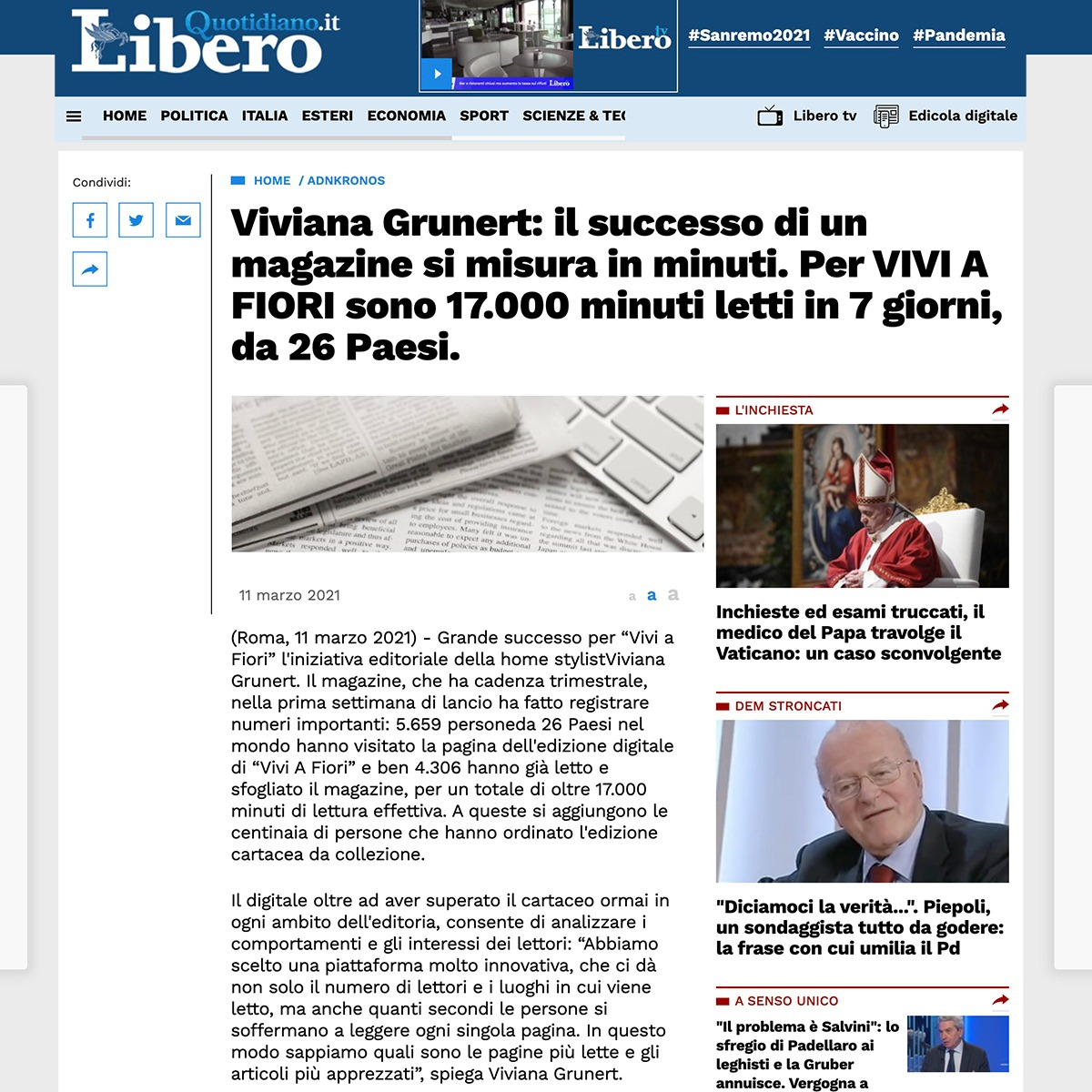 Viviana Grunert su LIBERO-11.03.2021