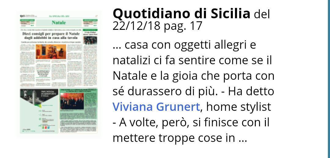 Viviana Grunert su QUOTIDIANO DI SICILIA-22.12.2018
